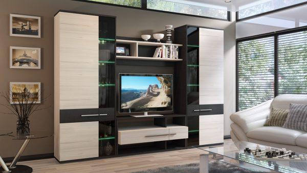 Корпусная мебель с подстветкой в интерьере гостиной