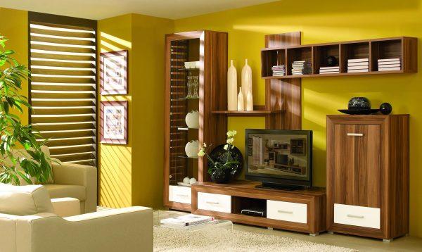 деревянная корпусная мебель в интерьере гостиной