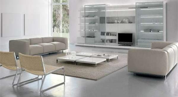 корпусная мебель для гостиной бежевого цвета