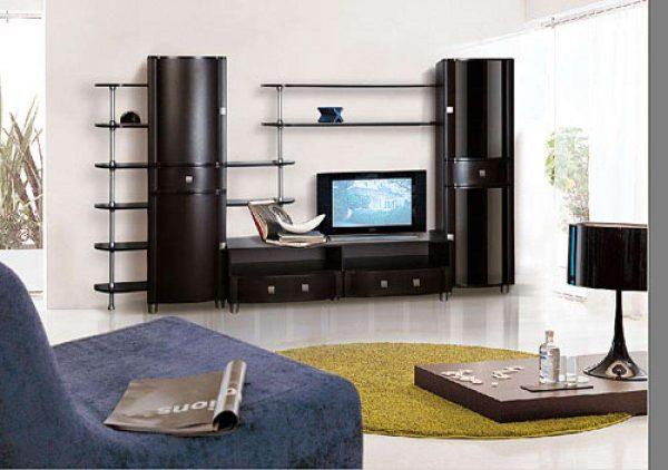 чёрная стильная корпусная мебель в интерьере современной гостиной