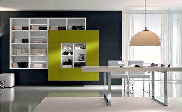 подвесная корпусная мебель в интерьере гостиной
