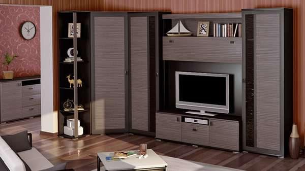 корпусная мебель серого цвета для гостиной