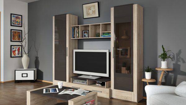 корпусная мебель с прозрачными дверцами в интерьере гостиной