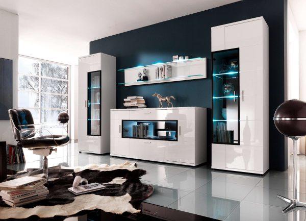 корпусная мебель для гостиной с подсветкой