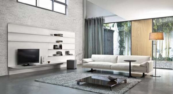 лофт мебель в гостиной современной