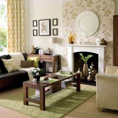 зелёный ковёр в интерьере гостиной