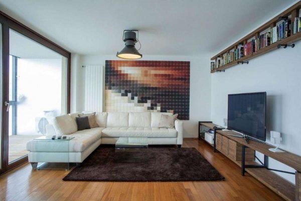 ковёр в интерьере гостиной шоколадного цвета