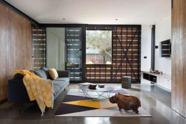 ковёр прямоугольный в интерьере гостиной