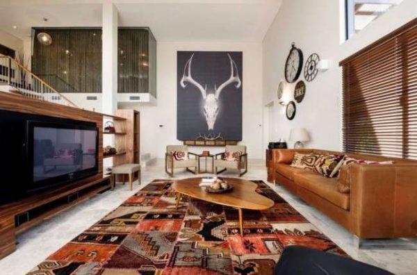 роскошный ковёр в интерьере гостиной