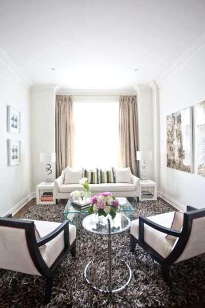 ковёр с высоким ворсом в интерьере гостиной