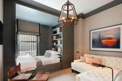 спальное место в интерьере кухни гостиной 15 кв. м