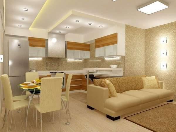 сочетание песочного и белого цвета в интерьере кухни гостиной 15 кв.м