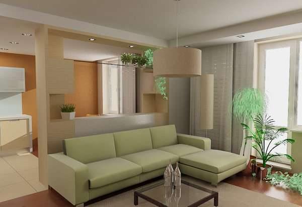 угловой диван в интерьере кухни гостиной 15 кв.м
