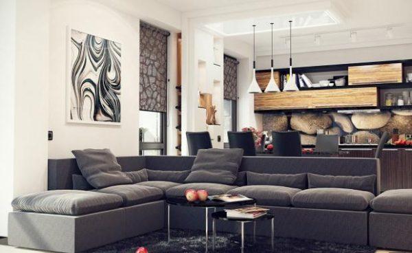 угловой серый диван в интерьере кухни гостиной 15 кв.м