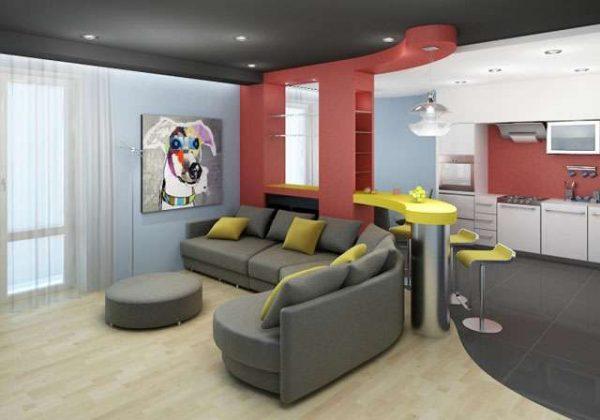цветовое зонирование в интерьере кухни гостиной 15 кв.м