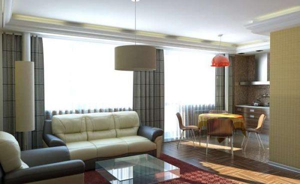 зонирование мебелью в интерьере кухни гостиной 15 кв.м