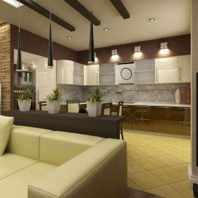 освещение в интерьере кухни гостиной 15 кв.м