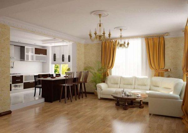 белый диван в интерьере кухни гостиной 15 кв.м