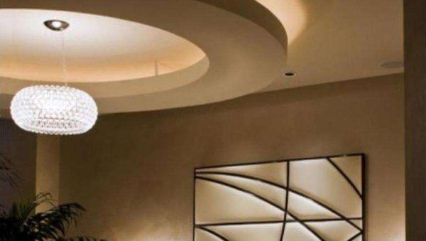 гипсокартонный потолок в кухне гостиной