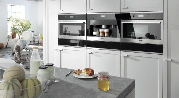 пример встроенной техники в интерьере кухни гостиной