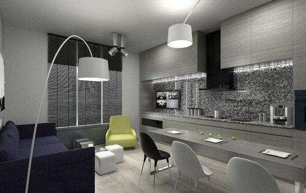 серый интерьер кухни гостиной