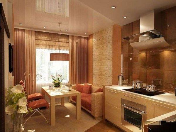 персиковая кухня гостиная с обеденной и рабочей зоной