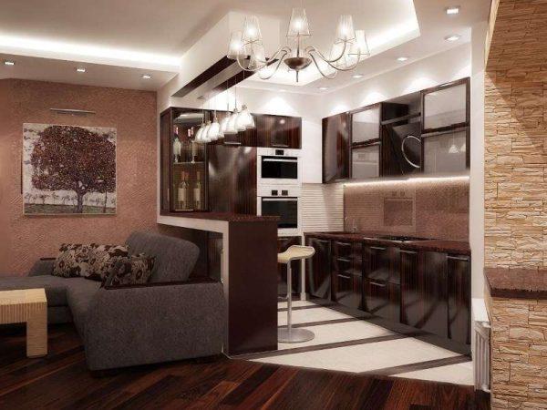 современный стиль кухни-гостиной