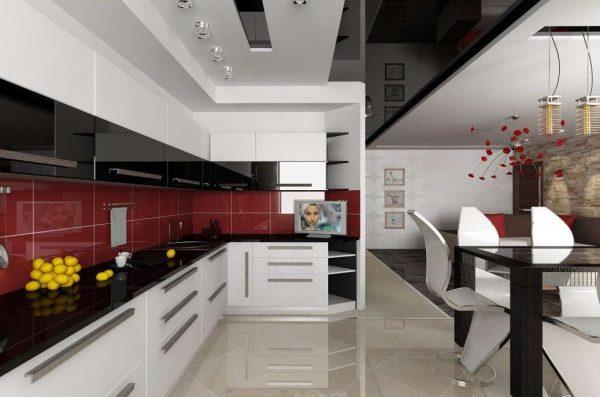 красный фартук в интерьере кухни гостиной