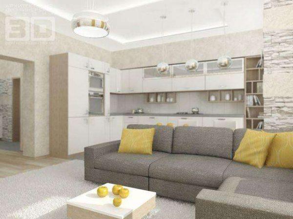 Кухня-гостиная с зонироанием диваном