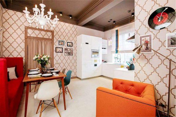 Кухня-гостиная с зонированием цветом