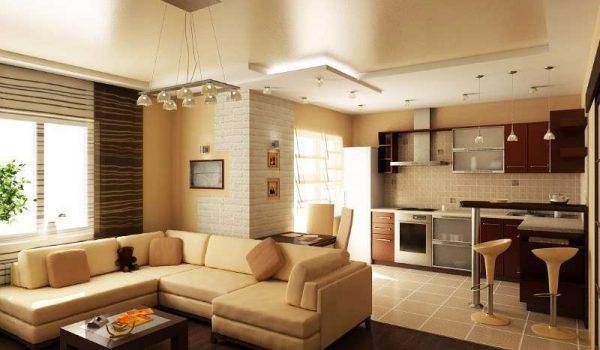 угловая кухня в интерьере кухни-гостиной 30 кв. метров
