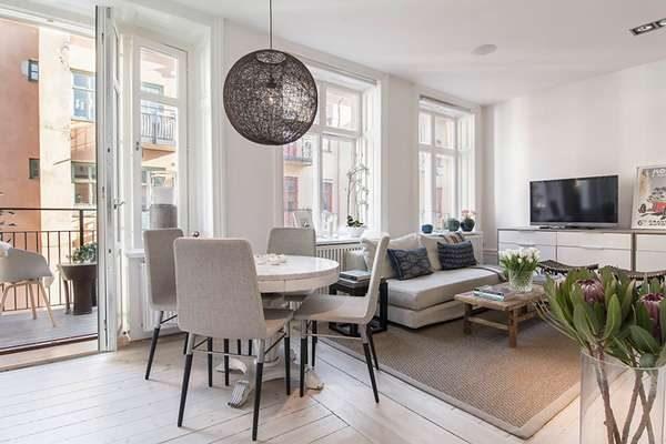 скандинавский стиль в интерьере кухни-гостиной 30 кв. метров