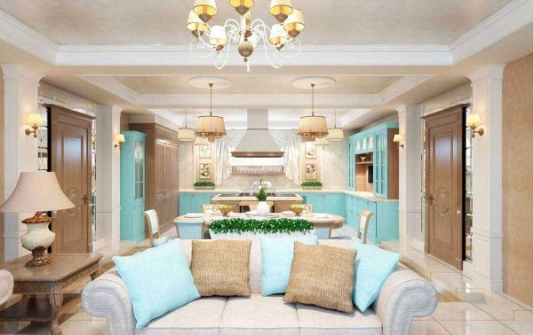 классический стиль в интерьере кухни-гостиной 30 кв. метров