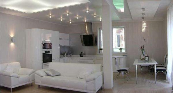 хай тек в интерьере кухни-гостиной 30 кв. метров