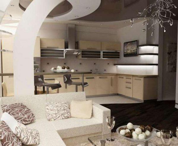 угловой диван в интерьере кухни гостиной 30 кв. метров