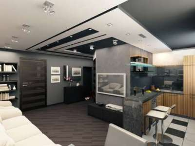 барная стойка в интерьере кухни гостиной 30 кв. метров