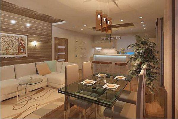 персиковый цвет в интерьере кухни гостиной 30 кв. метров