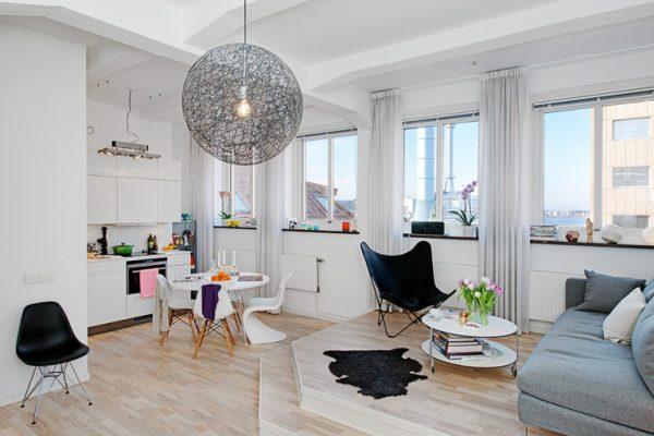 скандинавский в интерьере кухни гостиной 30 кв. метров