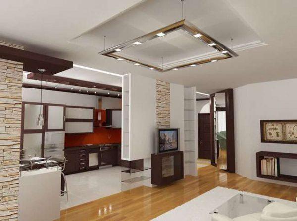 белый в интерьере кухни гостиной 30 кв. метров