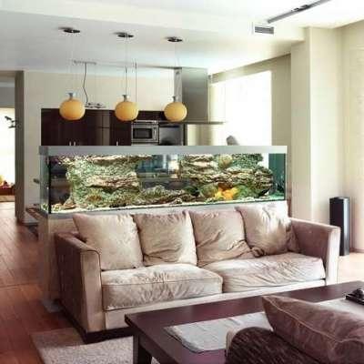 аквариум в интерьере кухни гостиной 30 кв. метров