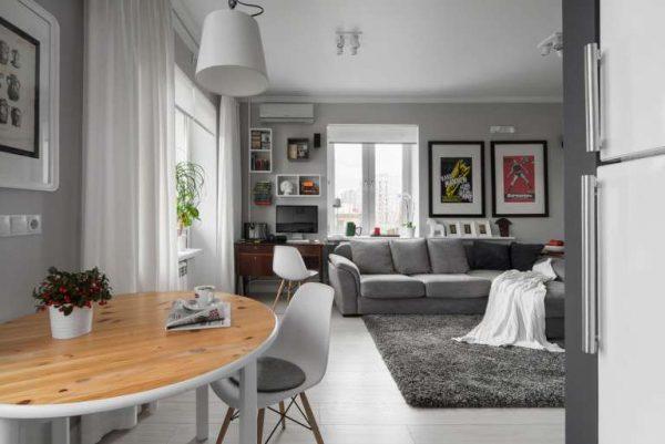 серый цвет в интерьере кухни гостиной 30 кв. метров