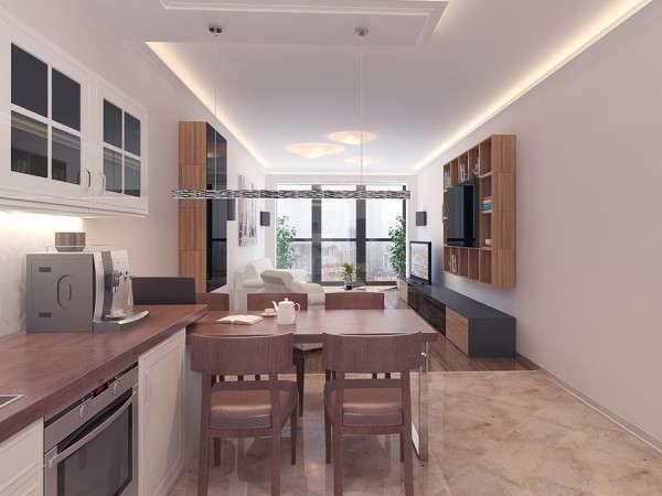 обеденная зона в интерьере кухни гостиной 30 кв. метров