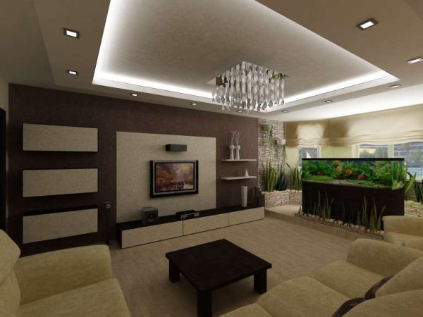 потолок и освещение в интерьере кухни гостиной 30 кв. метров