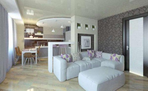 мягкий уголок в интерьере кухни гостиной 30 кв. метров