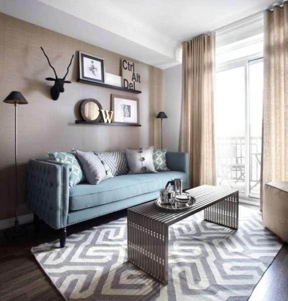 пастельные тона в интерьере небольшой гостиной