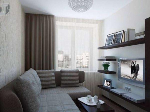 серый в интерьере небольшой гостиной