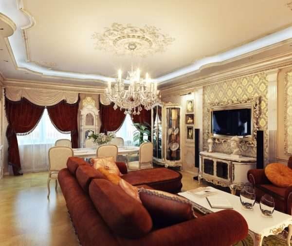 коричневая мебель в гостиной в классическом стиле