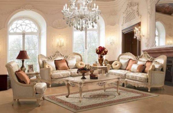 диванная группа с журнальным столиком в стиле классика