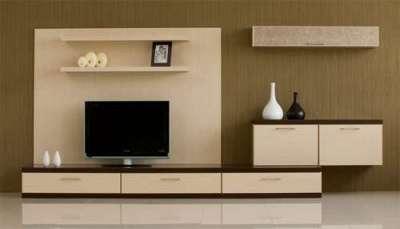 модульная стенка из ДСП в интерьере гостиной
