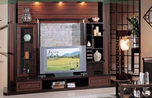 модульная стенка в интерьере гостиной в восточном стиле